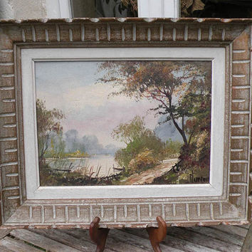 French vintage landscape oil painting. Original French vintage art. vintage French painting. River scene painting. Lake scene oil painting