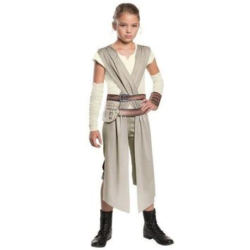 DCCKH6B Costume 2017 New The Force Awakens Fancy  Child Rey Star Wars Girls Classic Movie Charater Carnival Cosplay Halloween Costume