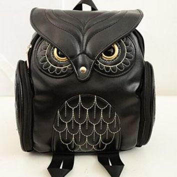 Women PU Leather Owl Backpack