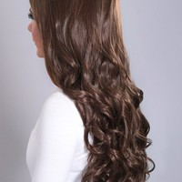 Extreme Volume Chestnut Brown #8 Curly ¾ Wig | Pink Boutique