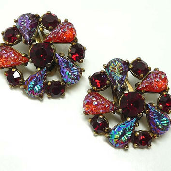Schiaparelli Vintage Earrings - Molded Red Glass Stones