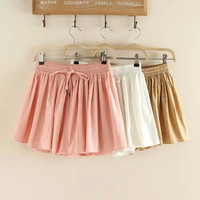 Summer Sweets Cotton Linen Dress Pants Casual Shorts [6034607297]