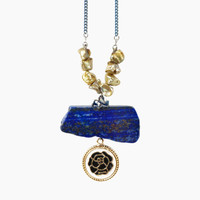 Raw Lapis Lazuli Stone Necklace with Olive Yellow Keishi Freshwater Pearls and Black Rose Cameo Charm