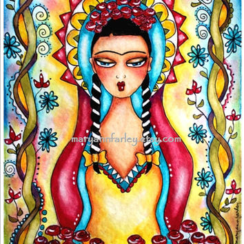 Art Print, Frida Kahlo Mexican Madonna Virgin Mary Girl Illustration, Spiritual, Religious, Watercolor Mixed Media, 8 x 10, Red Yellow