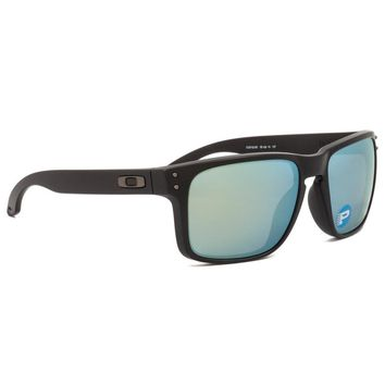 Oakley Holbrook Sunglasses Matte Black Frame Polarized Emerald Iridium OO9102-50