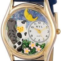 Whimsical Watches Kids' C0120012 Classic Gold Cats Night Out Royal Blue Leather And Goldtone Watch