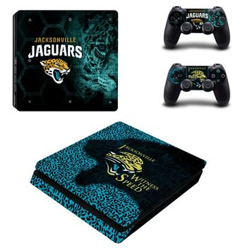Jacksonville Jaguars PS4 Slim Skin Sticker Decal for Sony PlayStation 4 Console and 2 Controller PS4 Slim Skins Sticker Vinyl