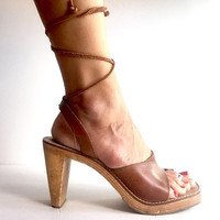Size 8 Vintage Leather Ankle Lace Up Sandals Made in Brazil,  Vintage Leather and Wood Lace Up Sandals