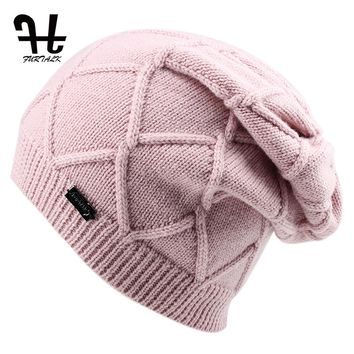 FURTALK Wool Cashmere Autumn Winter Women Hat Knit Skullies Beanies Hats for Girls Female