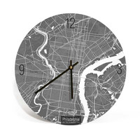 Philadelphia, Pennsylvania, Map Art Wall Clock