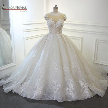 Cape sleeves bride wedding dress 2018 ball gown champagne color
