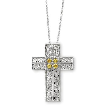 Sterling Silver November CZ Birthstone Cross Necklace, 18 Inch