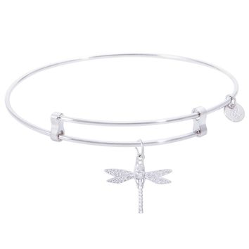 Sterling Silver Confident Bangle Bracelet With Dragonfly Charm