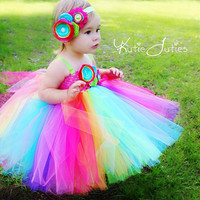 The Rainbow Tutu Dress- Candy Land, Pink, Aqua, Orange, Lime, Turquoise, Purple, Yellow, Birthday, 1st birthday, Cake Smash