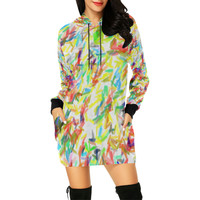 Colorful brush strokes All Over Print Hoodie Mini Dress (Model H27) | ID: D2451659