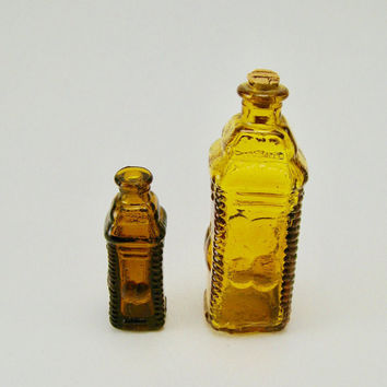 Apple bitters bottles embossed amber bottles made in Taiwan vintage miniature bottle set glass cork stopper
