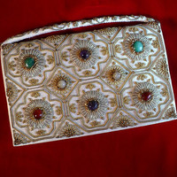 Gemstone Wedding Bag Purse 40's Vintage White Silk Bridal Clutch Trousseau