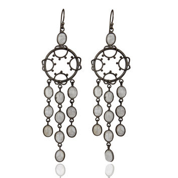 Rainbow Moonstone Rhodium Plated Party Wear Asian Style Long Dangle Earring