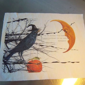 Halloween fabric panel handmade crow moon blackbird quilt square art journal scrapbooking supply primitve decoration unique home decor
