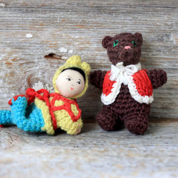 Vintage Amigurumi Miniature Crocheted Figurines : japanese girl teddy bear