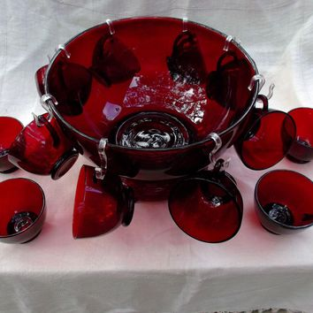 Anchor Hocking Royal Ruby Glass Punch Bowl Base and Twelve Punch Cups
