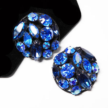 Blue Rhinestone Earrings - Vintage 1950's  Black Japanned Clip ons - Round Button Style with Marquis and Chaton Prong Ret Rhinestones