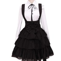 TOMSUIT Gothic Black White Ribbon Necktie Lace Bottom Lolita Dress Outfit