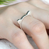 CAT EAR Silver Ring Sterling Ring .925 Silver Ring Personalized Ring