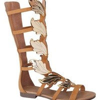 Tan Gladiator Sandal with Wings Detail