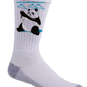 'Outfit' Funny Panda Bear Trying to Put on Clothes Logo - Crew Socks