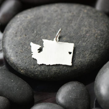 SALE - SMALL Sterling Silver State Pendant - Add a State to Your Necklace - States Jewelry - Quick Shipping Add-On - Valentines Day Gift