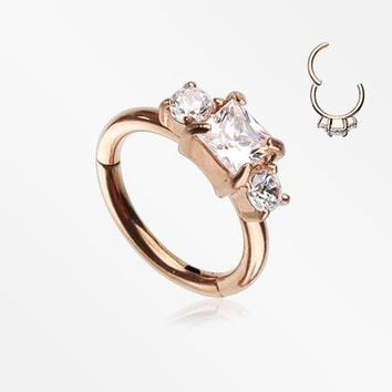 Rose Gold Prong Set Princess Cut Sparkle Gem Segment Clicker Ring
