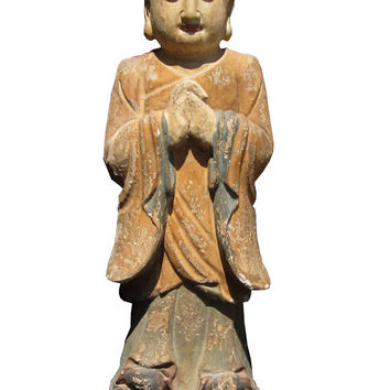 Chinese Antique Wood Hand Carving Standing Monk Statue wk2881s