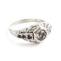 Antique Art Deco Rhinestone Ring -  Vintage Silver Tone Pot Metal 1930s Size 7 Costume Jewelry / Floral Filigree
