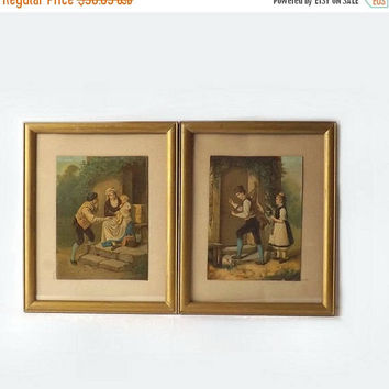 ON SALE - Folk Art Litho Prints, 2 Antique Chromolithographs in Wood Frames, Pencil Signed Phinney, Rabbit Offering, Man & Woman with Baby