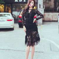 Black Lace Beaded Cocktail Dress