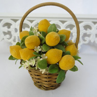 lemon basket vintage home decor small yellow centerpiece table arrangement