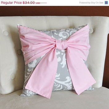 MOTHERS DAY SALE Throw Pillow Light Pink Bow on a Gray and White Damask Pillow 14x14 Pink and Gray Decor