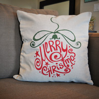 Merry Christmas Ornament Pillow Cover - Christmas Decor