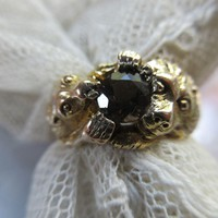 Antique 10K  Lion Smoky Quartz Ring Size 9