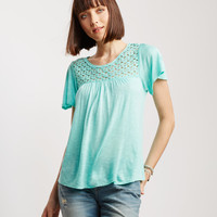 Lace Accent Peasant Top