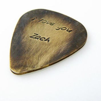 plectrum, I love you Personalized Guitar Pick, Hand Stamped, boyfriend gft, husband gift, friend gift, Anniversary gift, Brass or Aluminum