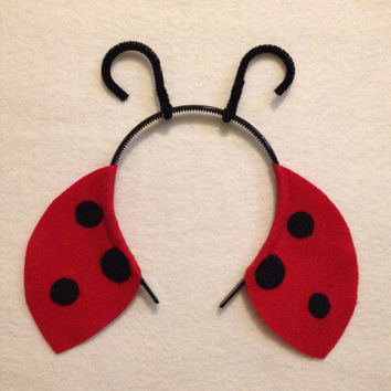 Ladybug Theme Headbands birthday party favors supplies decor costume hat lady bug antennae antenna wing adult child children baby babies kid