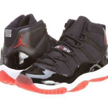 "Nike Boys Air Jordan 11 Retro (GS) ""Bred"" Black/Varsity Red-White Synthetic Jordan 11"