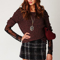 Burgundy and Plaid Outfit
