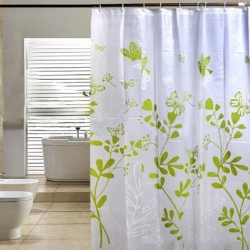 180*180cm Fashion Green Butterfly Thick Waterproof Bathroom Shower Curtain