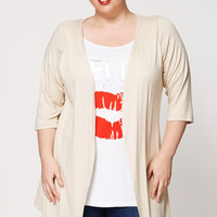 Hello Beautiful Kiss Print Mock Top and Cardigan