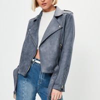 Missguided - Grey Raw Edge Biker Jacket