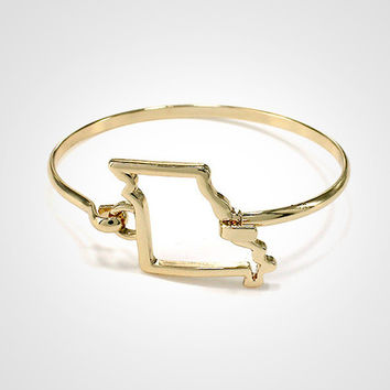 State Shape Wire Hinge Bangle Bracelet Gold Silver - Missouri