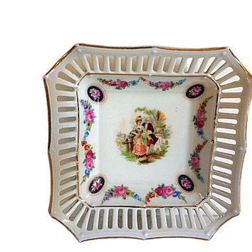 Bavaria Schumann, Dresden Nut Dish, Dresden Porcelain, Courting Couple, Love Story Dish, Vintage Bavaria, Schumann Porcelain, Bavaria Nut
